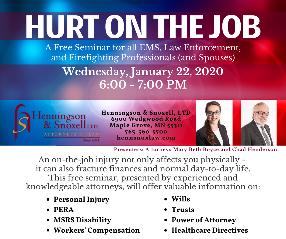 Hurt on the Job Free Seminar